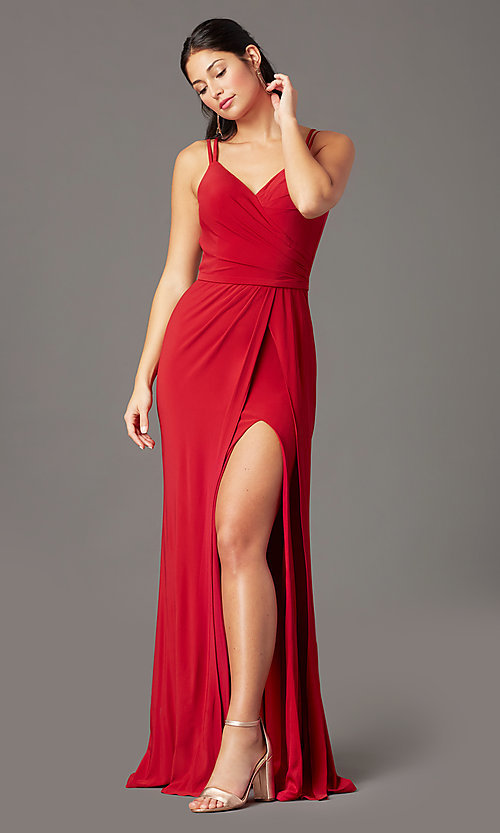 Image of backless long knit formal prom dress by PromGirl. Style: PG-F2042 Front Image