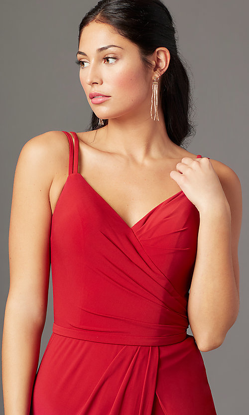 Image of backless long knit formal prom dress by PromGirl. Style: PG-F2042 Detail Image 1