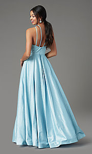 Image of PromGirl pleated glitter long formal prom dress. Style: PG-Z20958 Back Image