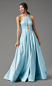Image of PromGirl pleated glitter long formal prom dress. Style: PG-Z20958 Front Image