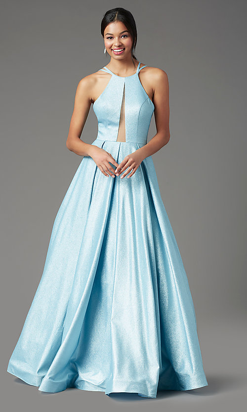 Image of PromGirl pleated glitter long formal prom dress. Style: PG-Z20958 Detail Image 2