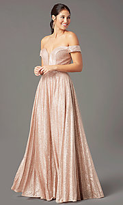 Image of sparkly long rose gold prom dress by PromGirl. Style: PG-Z20962 Detail Image 2