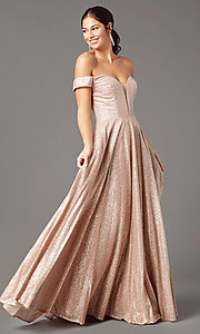 Image of sparkly long rose gold prom dress by PromGirl. Style: PG-Z20962 Front Image