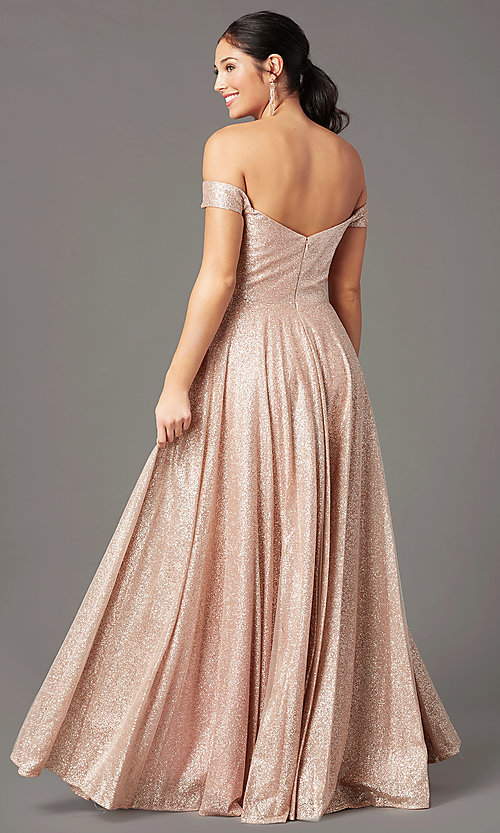 Image of sparkly long rose gold prom dress by PromGirl. Style: PG-Z20962 Back Image
