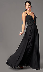 Image of v-neck long pleated formal prom dress by PromGirl. Style: PG-Z20963 Front Image