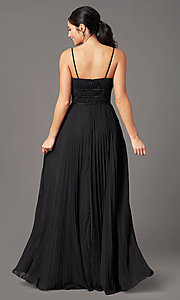 Image of v-neck long pleated formal prom dress by PromGirl. Style: PG-Z20963 Back Image