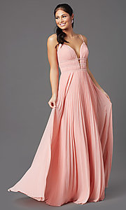 Image of v-neck long pleated formal prom dress by PromGirl. Style: PG-Z20963 Detail Image 3