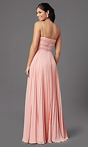 Image of v-neck long pleated formal prom dress by PromGirl. Style: PG-Z20963 Detail Image 4