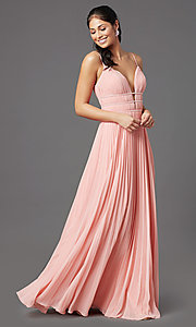 Image of v-neck long pleated formal prom dress by PromGirl. Style: PG-Z20963 Detail Image 6