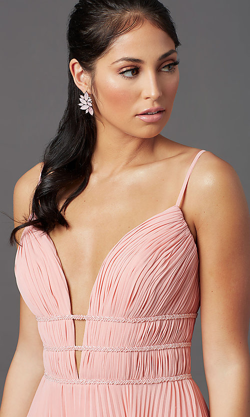 Image of v-neck long pleated formal prom dress by PromGirl. Style: PG-Z20963 Detail Image 5