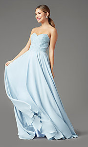 Image of PromGirl long strapless sweetheart prom dress. Style: PG-B2018 Detail Image 3