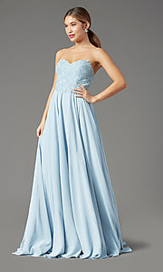 Image of PromGirl long strapless sweetheart prom dress. Style: PG-B2018 Detail Image 5