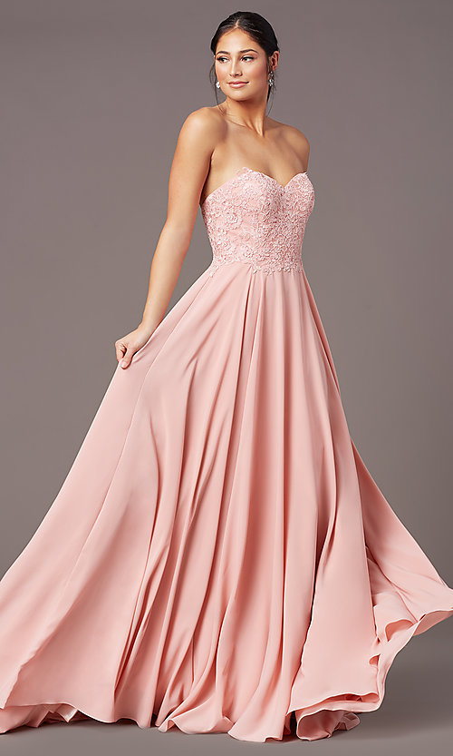 Image of PromGirl long strapless sweetheart prom dress. Style: PG-B2018 Front Image