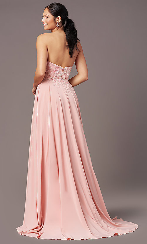 Image of PromGirl long strapless sweetheart prom dress. Style: PG-B2018 Back Image