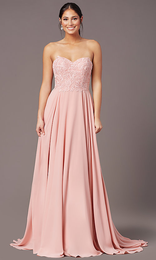 Image of PromGirl long strapless sweetheart prom dress. Style: PG-B2018 Detail Image 2
