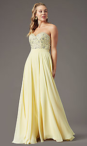 Image of strapless long formal prom dress by PromGirl. Style: PG-B2021 Front Image