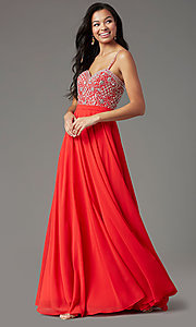 Image of strapless long formal prom dress by PromGirl. Style: PG-B2021 Detail Image 1