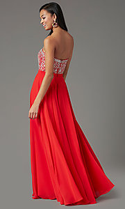Image of strapless long formal prom dress by PromGirl. Style: PG-B2021 Detail Image 2