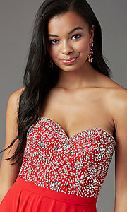 Image of strapless long formal prom dress by PromGirl. Style: PG-B2021 Detail Image 3