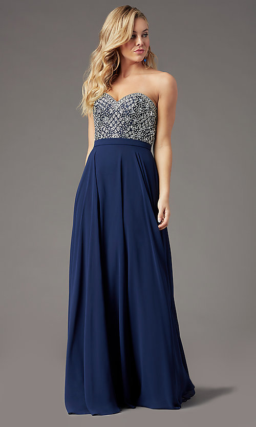 Image of strapless long formal prom dress by PromGirl. Style: PG-B2021 Detail Image 5