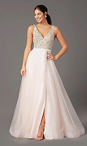 Image of PromGirl long tulle formal prom dress with beading. Style: PG-B2022 Detail Image 2