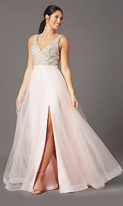 Image of PromGirl long tulle formal prom dress with beading. Style: PG-B2022 Front Image