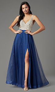 Image of PromGirl long tulle formal prom dress with beading. Style: PG-B2022 Detail Image 3