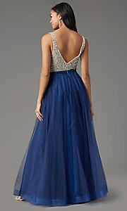 Image of PromGirl long tulle formal prom dress with beading. Style: PG-B2022 Detail Image 4