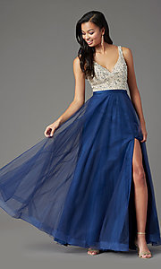 Image of PromGirl long tulle formal prom dress with beading. Style: PG-B2022 Detail Image 6
