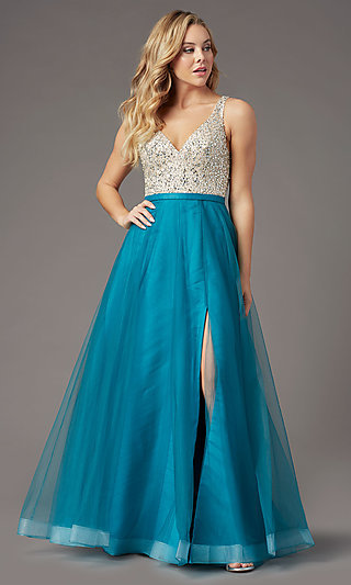 PromGirl Long Tulle Formal Prom Dress with Beading