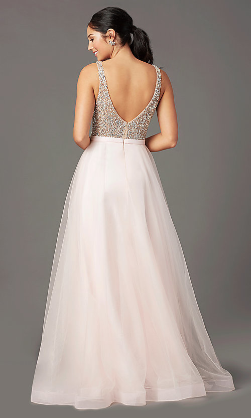 Image of PromGirl long tulle formal prom dress with beading. Style: PG-B2022 Back Image