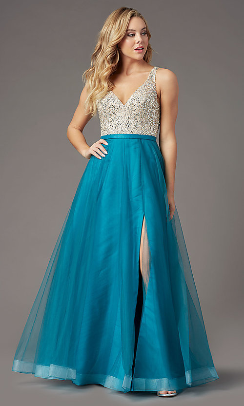 Image of PromGirl long tulle formal prom dress with beading. Style: PG-B2022 Detail Image 7