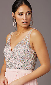 Image of long beaded-bodice chiffon prom dress by PromGirl. Style: PG-B2025 Detail Image 1