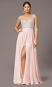 Image of long beaded-bodice chiffon prom dress by PromGirl. Style: PG-B2025 Detail Image 2