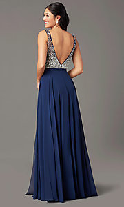 Image of long beaded-bodice chiffon prom dress by PromGirl. Style: PG-B2025 Detail Image 5