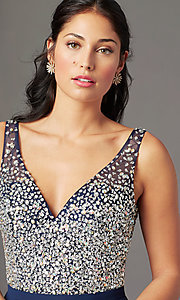 Image of long beaded-bodice chiffon prom dress by PromGirl. Style: PG-B2025 Detail Image 6