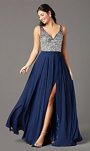 Image of long beaded-bodice chiffon prom dress by PromGirl. Style: PG-B2025 Detail Image 7