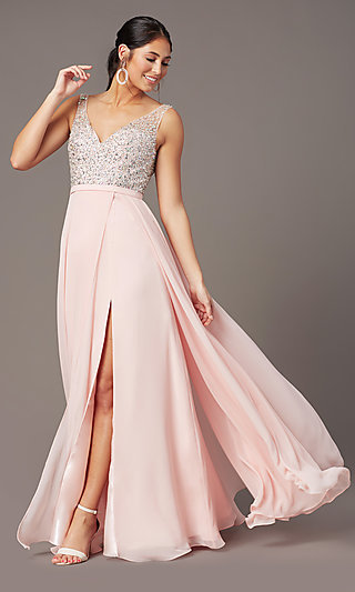 Long Beaded-Bodice Chiffon Prom Dress by PromGirl