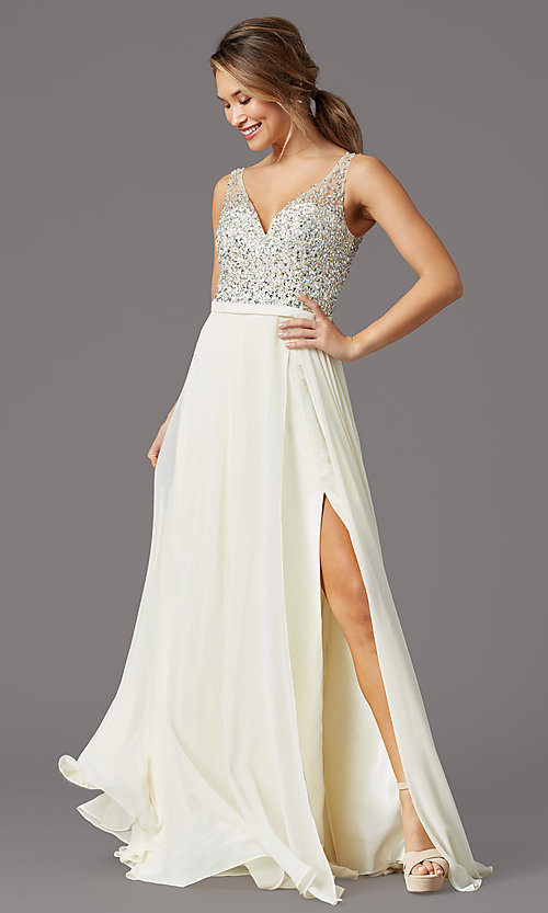 Image of long beaded-bodice chiffon prom dress by PromGirl. Style: PG-B2025 Detail Image 3