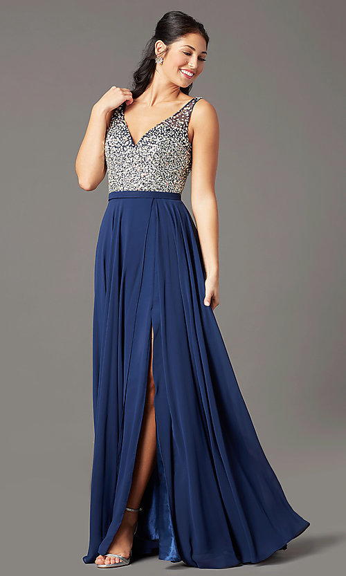 Image of long beaded-bodice chiffon prom dress by PromGirl. Style: PG-B2025 Detail Image 4