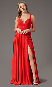 Image of v-neck chiffon long formal prom dress by PromGirl. Style: PG-F2001 Detail Image 6