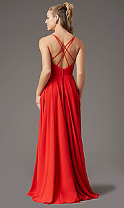 Image of v-neck chiffon long formal prom dress by PromGirl. Style: PG-F2001 Detail Image 7