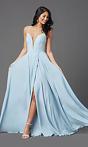 Image of v-neck chiffon long formal prom dress by PromGirl. Style: PG-F2001 Front Image
