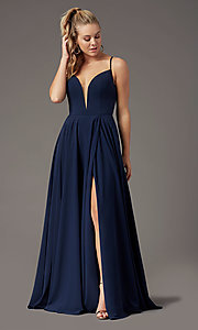Image of v-neck chiffon long formal prom dress by PromGirl. Style: PG-F2001 Detail Image 2