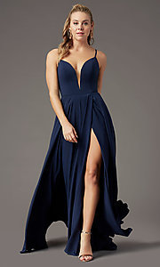 Image of v-neck chiffon long formal prom dress by PromGirl. Style: PG-F2001 Detail Image 5