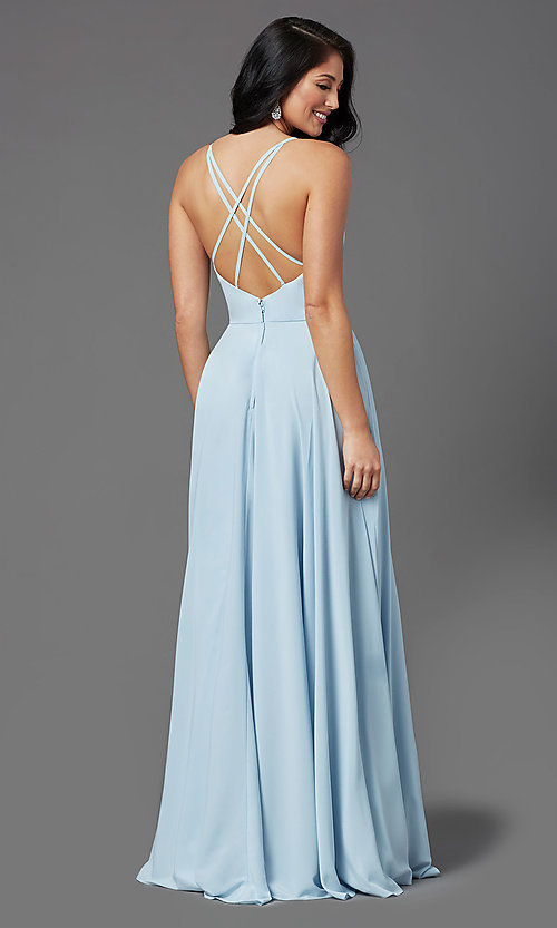 Image of v-neck chiffon long formal prom dress by PromGirl. Style: PG-F2001 Back Image