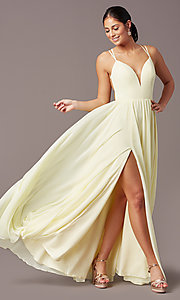 Image of backless long formal prom dress by PromGirl. Style: PG-F2006 Detail Image 3