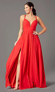 Image of backless long formal prom dress by PromGirl. Style: PG-F2006 Detail Image 2