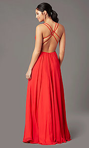 Image of backless long formal prom dress by PromGirl. Style: PG-F2006 Back Image