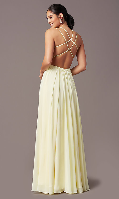 Image of backless long formal prom dress by PromGirl. Style: PG-F2006 Detail Image 4